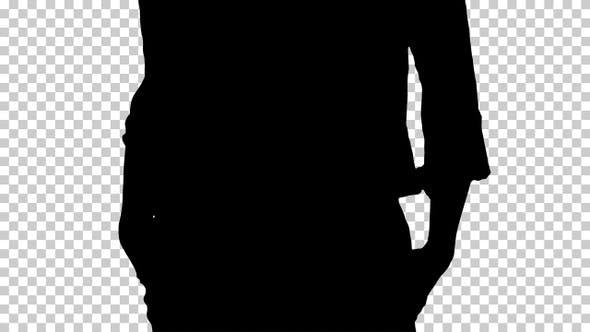 Silhouette business woman walking, Alpha Channel