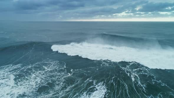 Thumbnail for Aerial View on Big Waves Atlantic Ocean at Storm