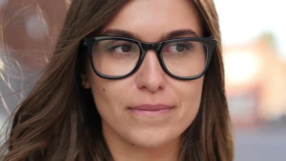 Thumbnail for Close Up of Sad and Crying Girl Face in Glasses, Outdoor