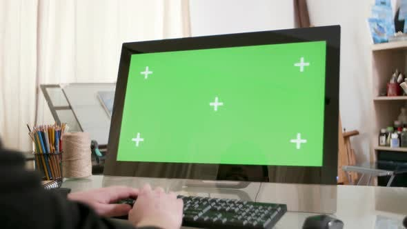 Thumbnail for Male Hands Typing a Text on a Computer with Green Screen on