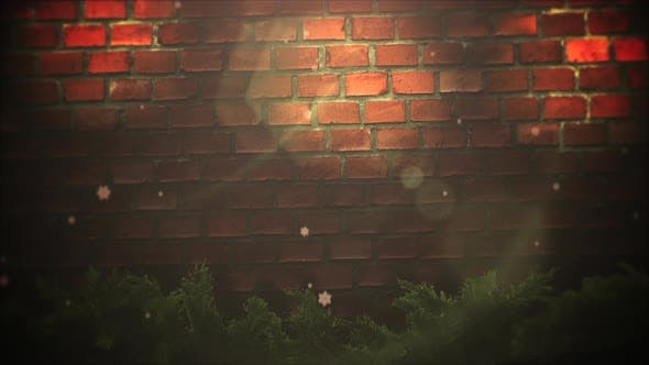 Thumbnail for Animated close up abstract bokeh and Christmas green tree branches on bricks background