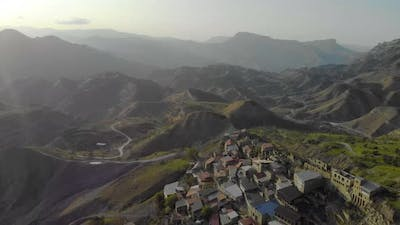 Aerial View of of the Village Aul in Dagestan