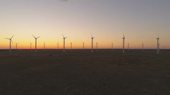 Thumbnail for Wind Turbines Silhouettes Working Against Sunset Sky at the Black Sea Coast