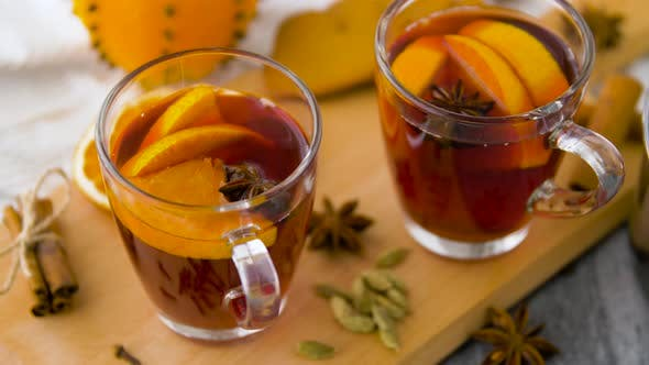 Thumbnail for Glasses of Hot Mulled Wine with Orange and Spices 38