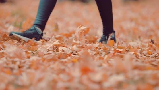 Unrecognizable Girl Legs in the Park