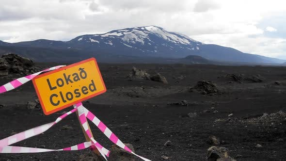Thumbnail for Road Closed Sign in Iceland near Hekla Volcano