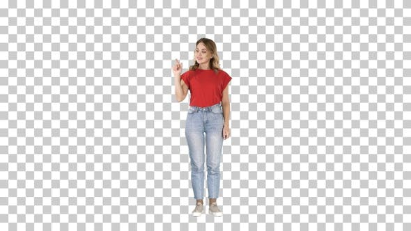 Thumbnail for Casual Charming Woman Presenter Pushing Imaginary Button