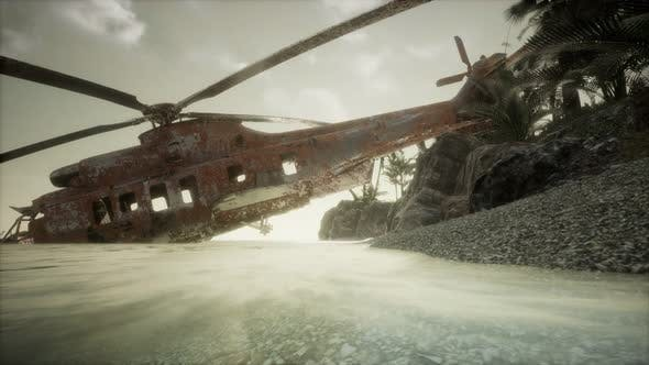 Thumbnail for Old Rusted Military Helicopter Near the Island