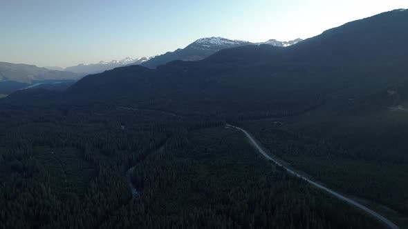 Thumbnail for Breathtaking Mountain Road Trip Aerial Of British Columbia Scenic Route