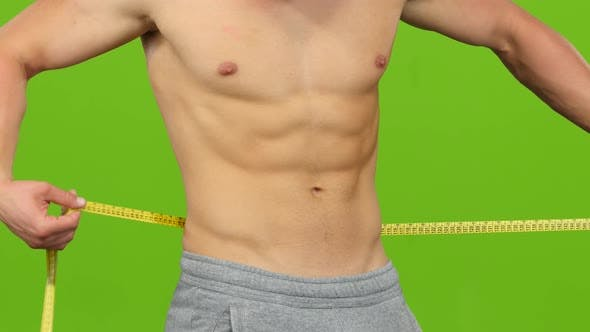 Thumbnail for Man Without Shirt Measures Volume of His Waist. Green Screen
