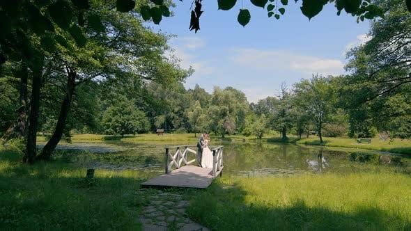 Thumbnail for Brautpaare am Hochzeitstag stehen auf einer Holzbrücke am See
