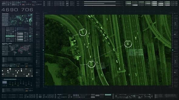 Thumbnail for Futuristic Satellite Surveillance HUD 01