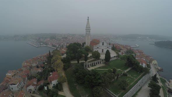 Thumbnail for Basilica in Rovinj, aerial view