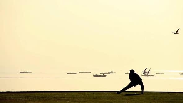 Thumbnail for Man Exercising On Seaside