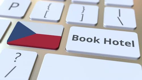 BOOK HOTEL Text and Flag of the Czech Republic on the Keyboard