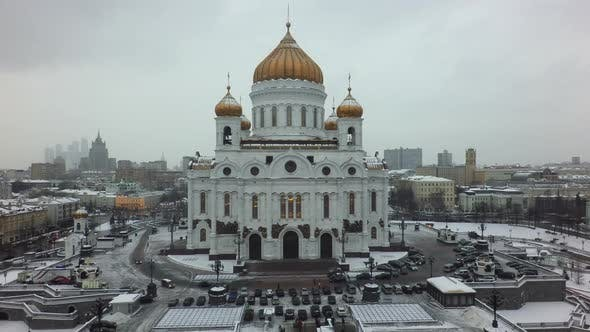 Thumbnail for Moscow View with Cathedral of Christ the Saviour, Backward Fly