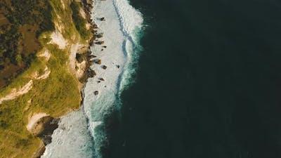 Rocky Coastline on the Island of Bali. Aerial View