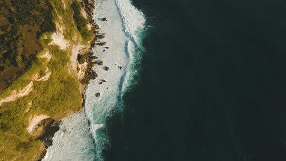 Rocky Coastline on the Island of Bali. Aerial View