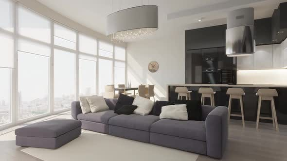Thumbnail for 3D render circled the interior of the living room in a modern style