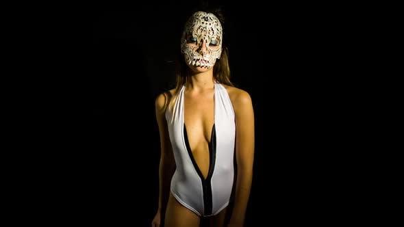 Skull venetian carnival mask woman