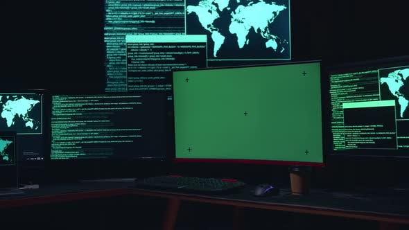 Isolated Mock-Up Green Screen And Code On Multiple Computer Screens, Cyber Attack