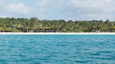 Zanzibar Coastline with Sandy Beach Palms and Hotels