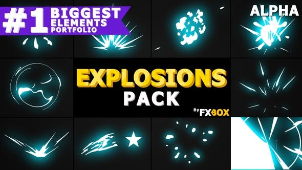 Thumbnail for Cartoon Explosion Elements | Motion Graphics Pack