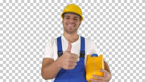Thumbnail for A real worker giving a thumbs up holding canister and smiling
