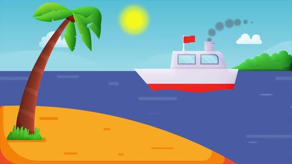 Animation of white steam ship on the blue sea.