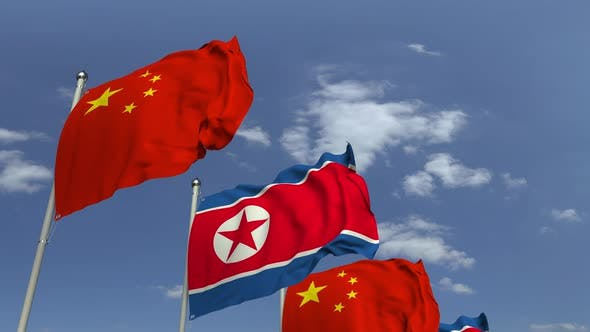 Thumbnail for Waving Flags of North Korea and China