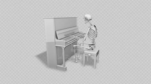 3D Skeleton White Piano