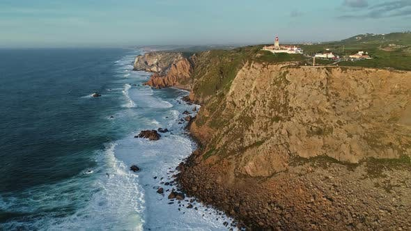 Thumbnail for Aerial View of Lighthouse at Cape Roca in Portugal
