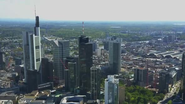 Thumbnail for AERIAL: View on Frankfurt Am Main Skyline Sunshine