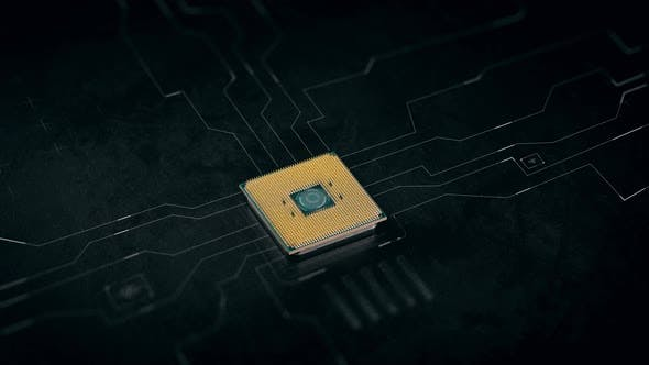 CPU. Conceptual Representation of the Work of the Central Processor. Graphic Motion Lines Design on