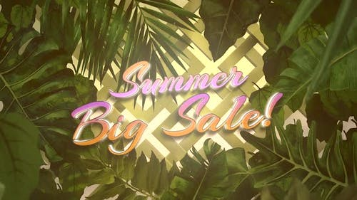 Animated closeup text Summer Big Sale and tropical flowers and leaf, summer background
