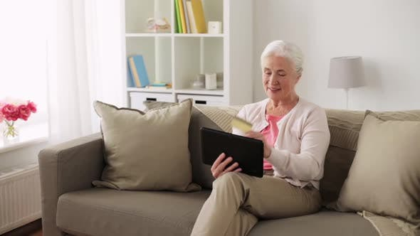 Thumbnail for Senior Woman with Tablet Pc and Credit Card