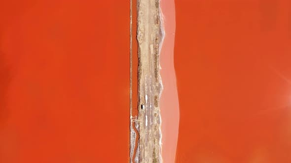 Thumbnail for Aerial view of colorful salt lake
