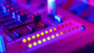 LED Indicator Level Signal of Volume on the Sound Mixing Console or Dj Console on the Party in