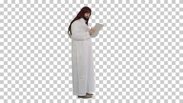 Thumbnail for Arabic business man with tablet, Alpha Channel