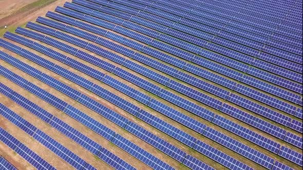 Thumbnail for Aerial  Of Solar Panels Collecting Sun Light Green Energy Nature Preservation Ecology