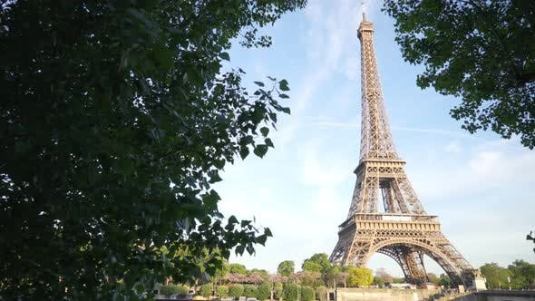 Thumbnail for Out of focus background of the Eiffel Tower across the River Seine Paris France