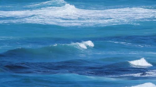 Blue Water Waves Surface Beautiful Background