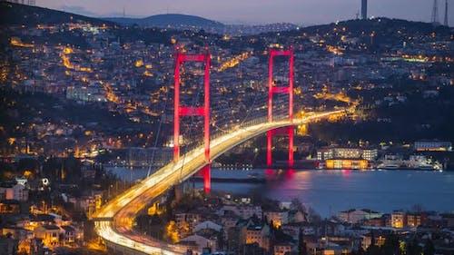 Istanbul Sunrise Night to Day Time-Lapse with Bosphorus Bridge