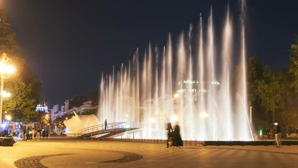 Cover Image for Timelapse of Singing Fountains on the Batumi Embankment at Night