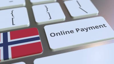 Online Payment Text and Flag of Norway on the Keyboard