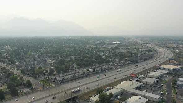 Thumbnail for Aerial view of California wildfire smoke over Utah County