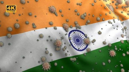 Covid India Flag / Corona India Flag - 4K