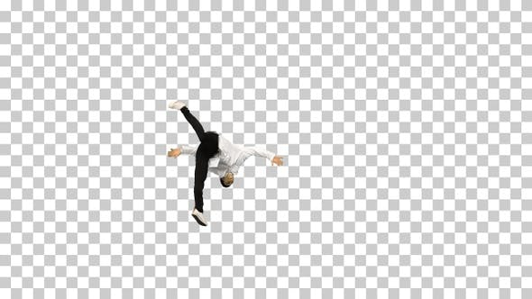 Thumbnail for Young male doctor doing back flips adjusts, Alpha Channel