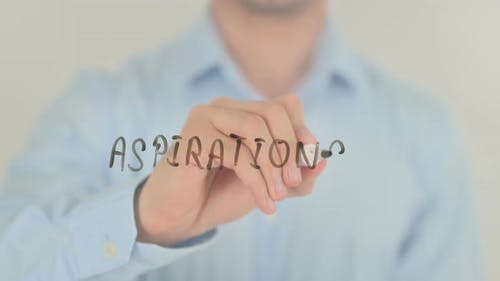 Aspirations, Man Writing on Transparent Screen