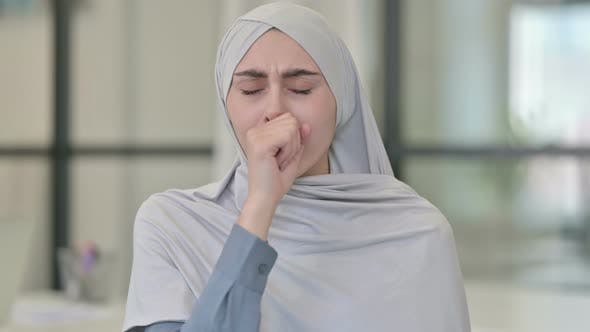 Young Arab Woman Coughing